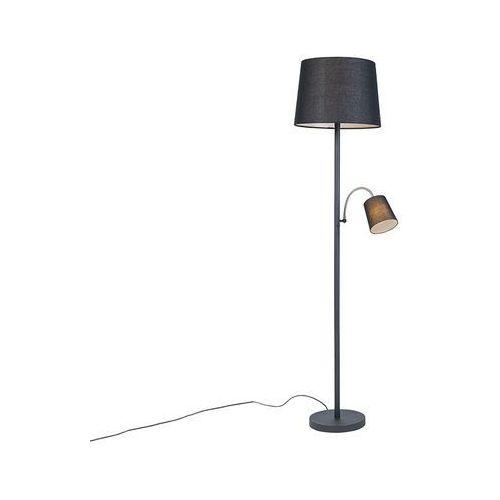 Klasyczna lampa podłogowa czarna z czarny klosz z elastycznym ramieniem - retro marki Qazqa
