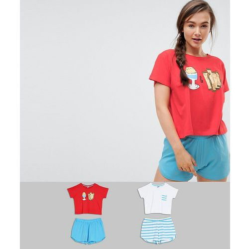 ASOS 2 Pack Egg and Soldiers Tee & Short Pyjama Set - Multi
