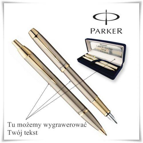Zestaw długopis i pióro Parker IM Brushed Metal GT w etui z opcją grawerowania dedykacji, kup u jednego z partnerów