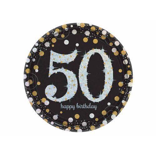 Amscan Talerze na 50 urodziny złote&srebrne sparkling celebration (0013051589264)
