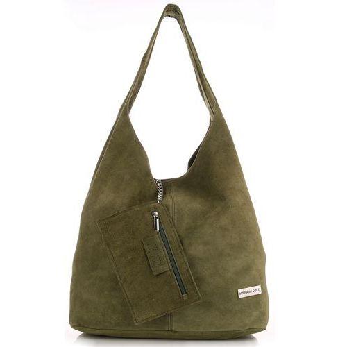 fdb1838db694d OKAZJA - Vittoria gotti Oryginalne torby skórzane xl shopper bag z etui  zamsz naturalny zielona ...