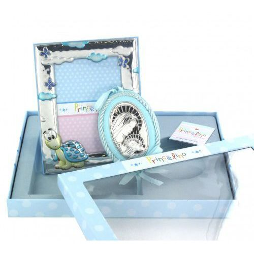 Produkt grecki Zestaw dla dziecka, srebrna ramka i zawieszka z matką bożą z dzieciątkiem