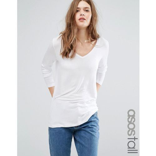 ASOS TALL The New Forever T-Shirt With Long Sleeves And Dip Back - White