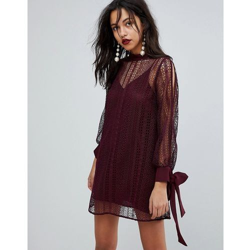 lace tie sleeve shift dress - red, River island