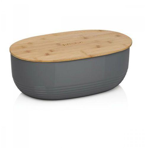 owalny plastikowy pojemnik na chleb z bambusową pokrywką, 37,5x23x14 cm, ciemnoszary