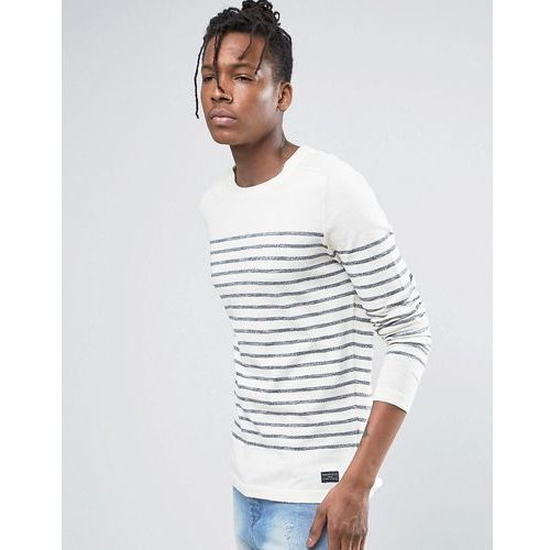 Selected homme  100% cotton crew neck knitted stripe jumper - cream
