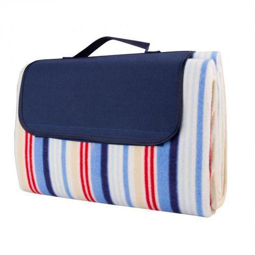 Insportline Składany koc piknikowy  130x180 cm wodoodporny - kolor niebieskie prążki