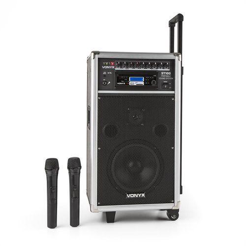 Vonyx  st-100 mk2 mobiny zestaw nagłośnieniowy bluetooth cd usb sd mp3 baterie uhf