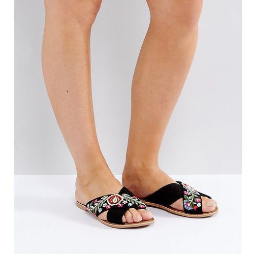 New Look Wide Fit Embroidered Cross Stap Mule - Black