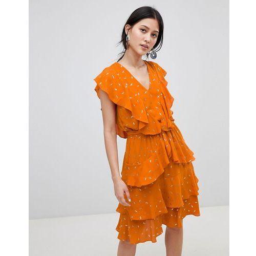 metallic print ruffle midi dress in orange - orange marki Y.a.s