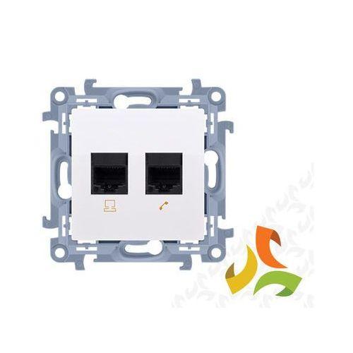 Gniazdo komputerowe rj45 kategoria 5e + telefoniczne rj12 pojedyncze, biały c5t.01/11 simon 10 marki Simon kontakt