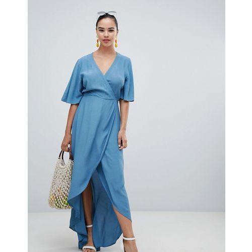 New Look Wrap Asymmetric Dress - Blue, kolor niebieski