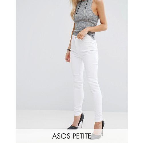 ASOS PETITE Ridley Full Length High Waist Skinny Jeans in White - White