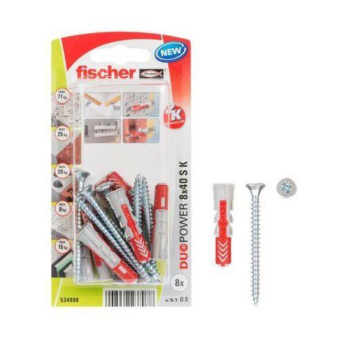 Kołek uniwersalny Fischer Duopower 8 x 40 z wkrętem 8 szt., 534998