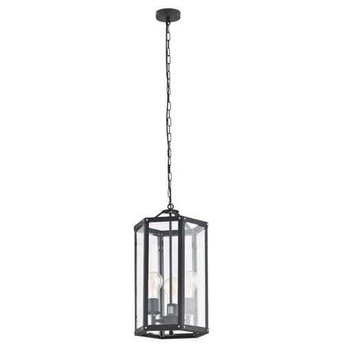 Industrialna szklana lampa świecznikowa wisząca Argon Bodrum 3X60W E27 czarna 1253