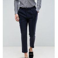 wide leg cropped trouser in pinstripe - navy marki Heart & dagger