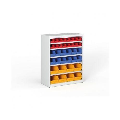 Regał z plastikowymi pojemnikami - 1150x920x400 mm, 16x A, 12x B, 8x C