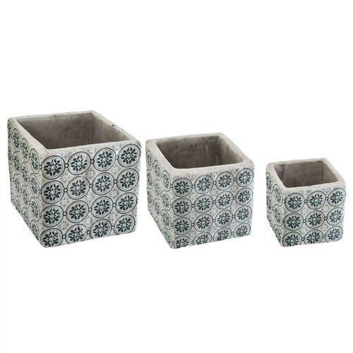 Zestaw 3 doniczek z cementu, kwadratowe doniczki, niebieski ornament