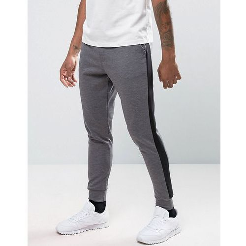 River island  joggers in skinny fit with black sports stripe in grey - grey