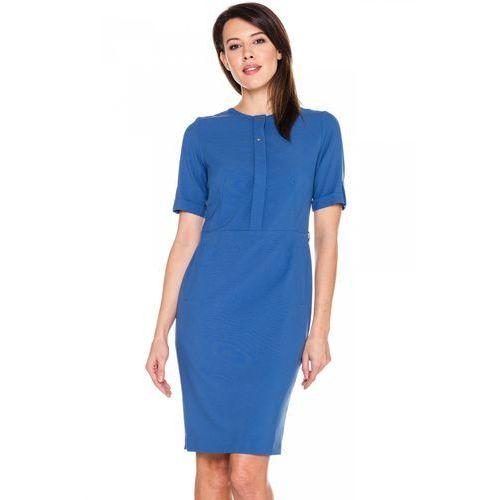 Niebieska sukienka z ozdobną pliską - EMOI, kolor niebieski