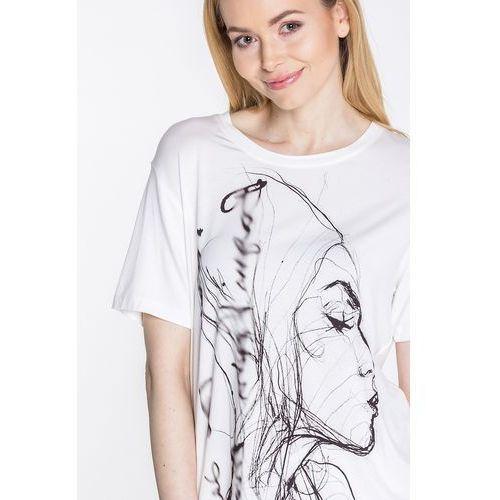 Biała bluzka z aplikacją - Jelonek