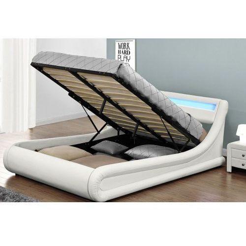 Łóżko z materacem tapicerowane 140x200 138 led białe marki Meblemwm