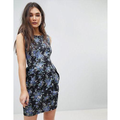 Qed london floral pencil dress - black