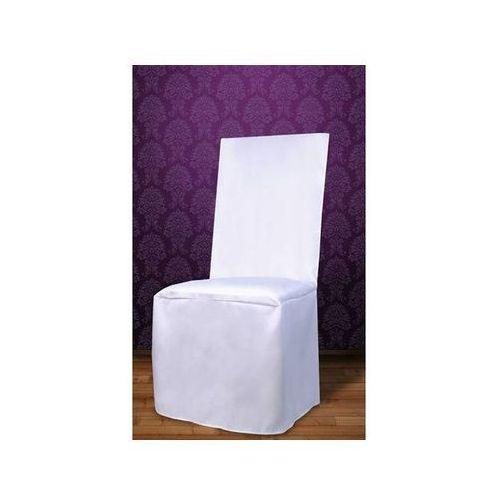 Ap Pokrowiec na krzesło z satyny - biały - ślub - 1 szt.