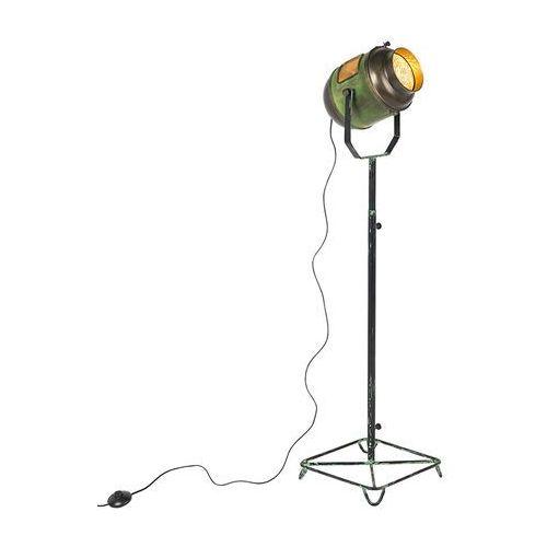 Qazqa Lampa podlogowa vintage filmowy reflektor antyczna zielen braz - byron