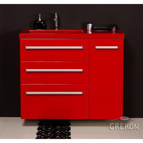 Czerwona szafka wisząca z umywalką 90/39/3lcz seria fokus cz marki Gante