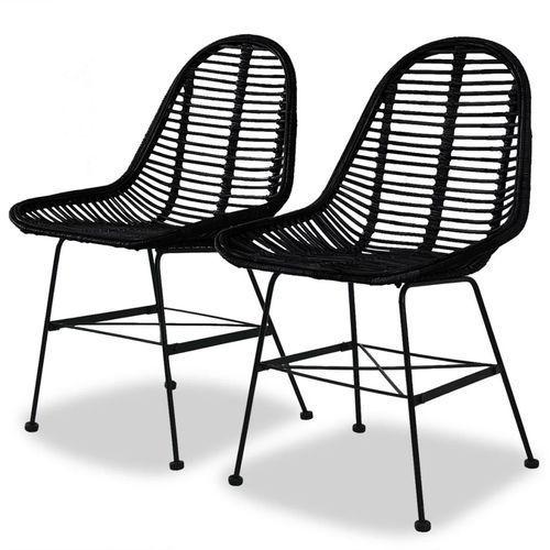 Vidaxl krzesła do jadalni, 2 szt., naturalny rattan, czarne