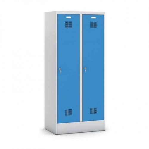 Kovona Metalowa szafka ubraniowa z przegrodą, na cokole, niebieskie drzwi, zamek cylindryczny, demontowana