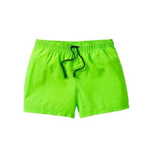 Szorty plażowe bonprix zielony neonowy, kolor zielony