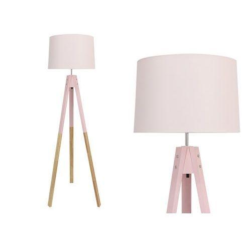Lampa podłogowa w skandynawskim stylu STAVENGER - wys. 149 cm - Drewniane nogi - kolor różowy