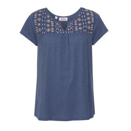 Bonprix Shirt poszerzany dołem, z nadrukiem, krótki rękaw indygo