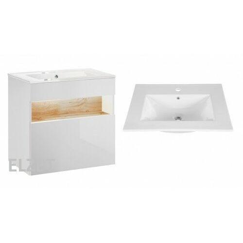 COMAD szafka Bahama White biała/dąb wotan + umywalka Lava 60 BAHAMAWHITE820+CFP-60D, kolor dąb