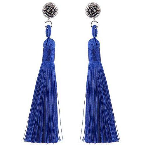 Kolczyki długie frędzle z cyrkonią kobaltowe - kobaltowe, kolor niebieski