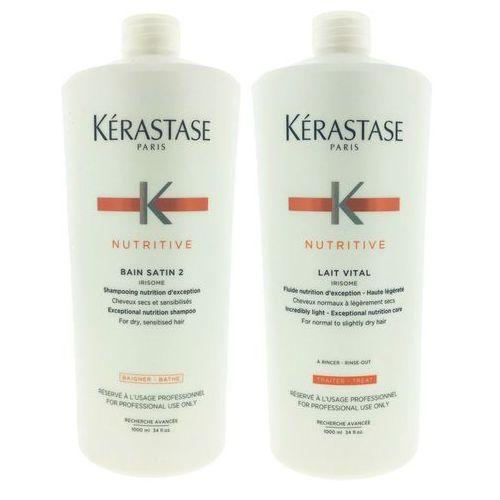 Kerastase nutritive | zestaw do włosów suchych i uwrażliwionych: kąpiel 1000ml + mleczko proteinowe 1000ml marki Kérastase
