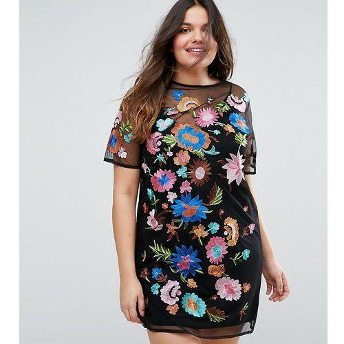 Asos curve premium mini t-shirt dress in pretty embroidered mesh - multi