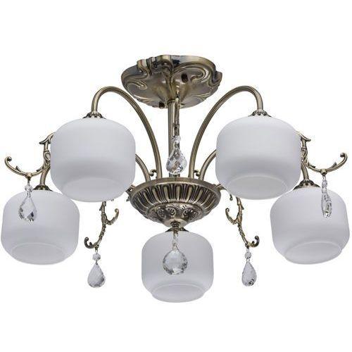 Duża lampa sufitowa - antyczny mosiądz i białe klosze classic (372013005) marki Mw-light