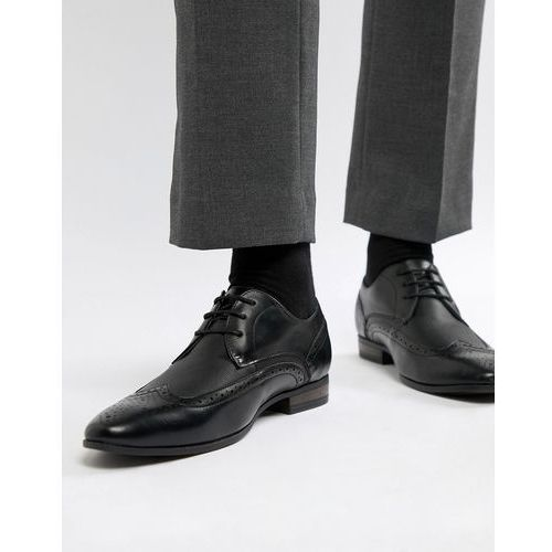 faux leather brogue with embossed detail in black - black, New look