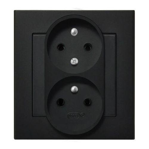 Gniazdo podwójne b/u ip20 16/250, (z niezamien.faz) z ramką, czarny gp-2rc/33 sonata marki Ospel