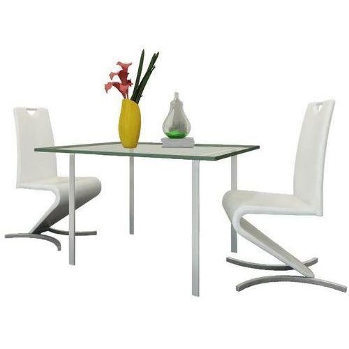 Krzesła wspornikowe do jadalni, 2 szt., sztuczna skóra, białe marki Vidaxl