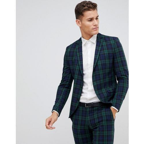 Selected homme blackwatch green check suit jacket in skinny fit - green