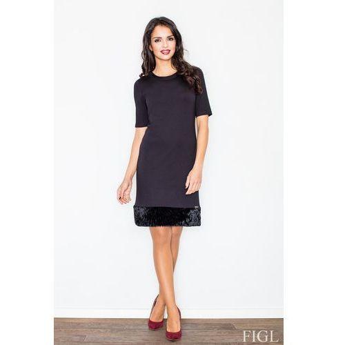 Czarna Elegancka Ołówkowa Sukienka z Futrzaną Wypustką, FM429bl
