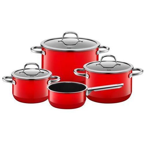 Silit passion red, yellow, black, green zestaw garnków 4 cz. z rondlem