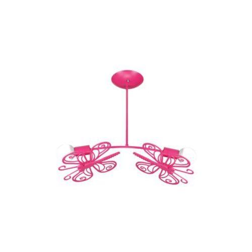 Light prestige Lampa wisząca motylek lp-14030/2p metalowa oprawa dziecięca zwis różowy