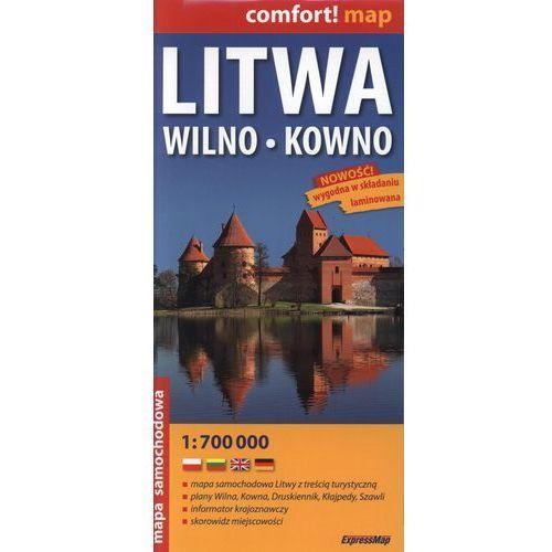 Litwa, Wilno, Kowno. Mapa samochodowa 1:700 000