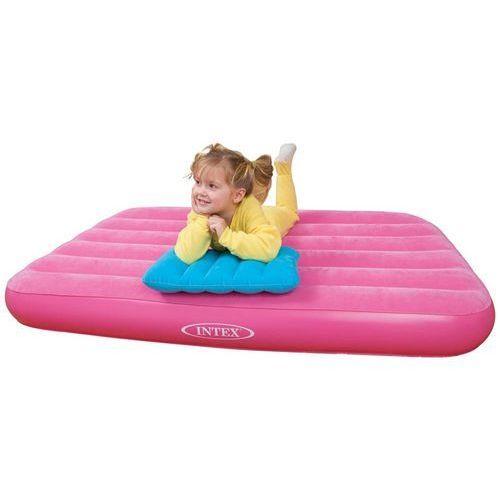 Materacyk welurowy dla dziecka z poduszką różowy 90 x 160 x 20 cm INTEX 66801