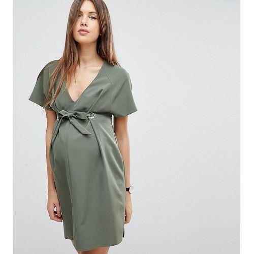 ASOS Maternity V Neck Column Mini Dress with Eyelet and Tie - Green, kolor zielony